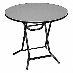 "30""D Round Folding Table, Gray"