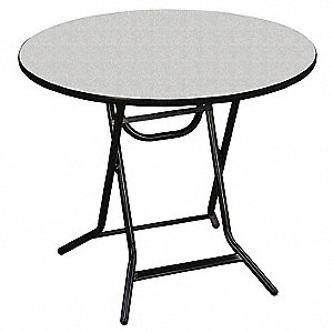"Round Folding Table, 30"" Height, 30"" Diameter, Gray Glace"