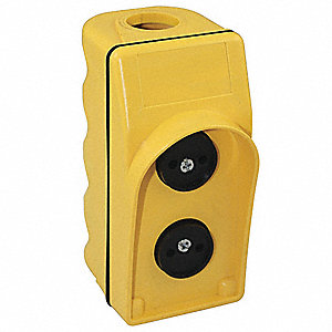 2-Button User Configurable Pendant Push Button Station, 2NO/2NC, NEMA Rating 1, 3, 3R, 4, 4X, Yellow