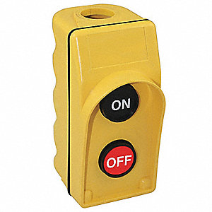 2-Button On/Off Pendant Push Button Station, 1NO/1NC, NEMA Rating 1, 3, 3R, 4, 4X, Yellow
