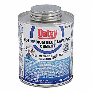 Blue Solvent Cement, PVC, Medium Bodied, Hot, Size 16, For Use With PVC Pipe and Fittings
