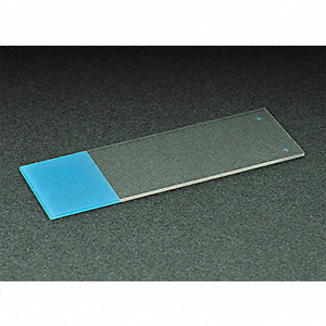 75x25mm White Glass Microscope Slide, Blue; PK72