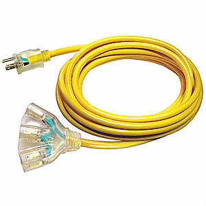 25 ft. Indoor, Outdoor Lighted Extension Cord; Max Amps: 15.0, Number of Outlets: 3, Yellow