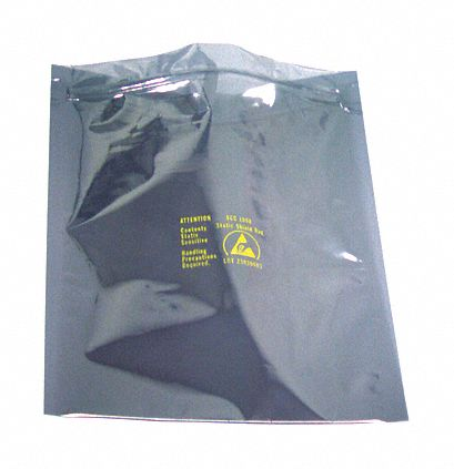 10 inL x 6 inW Reclosable Static Shielding Bag, Silver