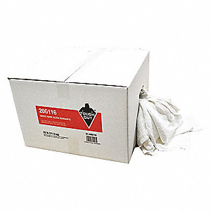 White Terry Cloth Cotton Cloth Rag, 25 lb. Box, 1EA