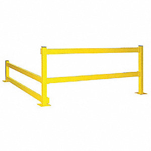 Safety Yellow Guard Rail, 11 ga. Steel, Lift Out Mounting Style, 6 ft. Nominal Length