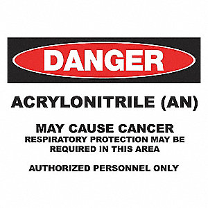 DANGER SIGN 10X14 ACRYLONITRILE AL