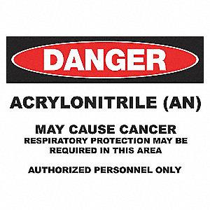 DANGER SIGN 10X14 ACRYLONITRILE ADH
