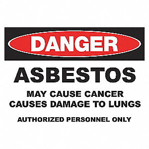 DANGER SIGN 10X14 ASBESTOS PLASTIC