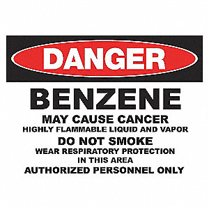 DANGER SIGN 10X14 BENZENE ADHESIVE