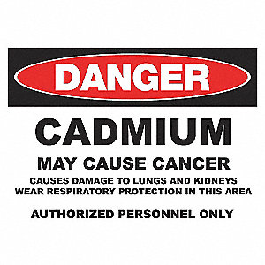 DANGER SIGN 10X14 CADMIUM ADHESIVE