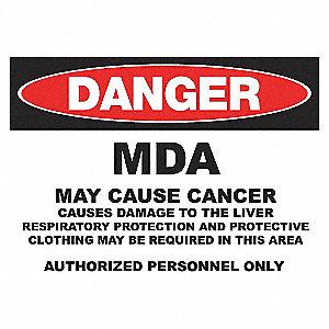 DANGER SIGN 10X14 MDA ALUMINUM