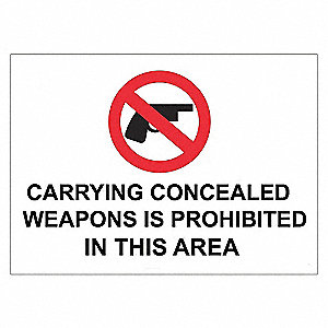 SECURITY SIGN CONCEAL WEAPON AL