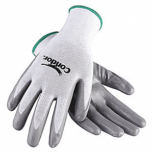 13 Gauge Coated Gloves, White/Gray