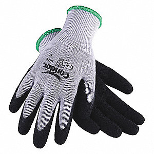 Coated Gloves,Latex,L,Gry/Blk,PR