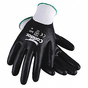 13 Gauge Smooth Nitrile Coated Gloves, Glove Size: M, White/Black