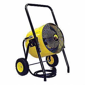 "23-1/4"" x 21-1/2"" x 38-1/2"" Fan Forced Electric Salamander Heater, Yellow/Black, 240VAC"
