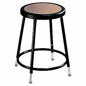 "Round Stool with 19"" to 27"" Seat Height Range and 300 lb. Weight Capacity, Black"