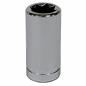 "1"" Chrome Vanadium Spark Plug Socket with 1/4"" Drive Size and Chrome Finish"