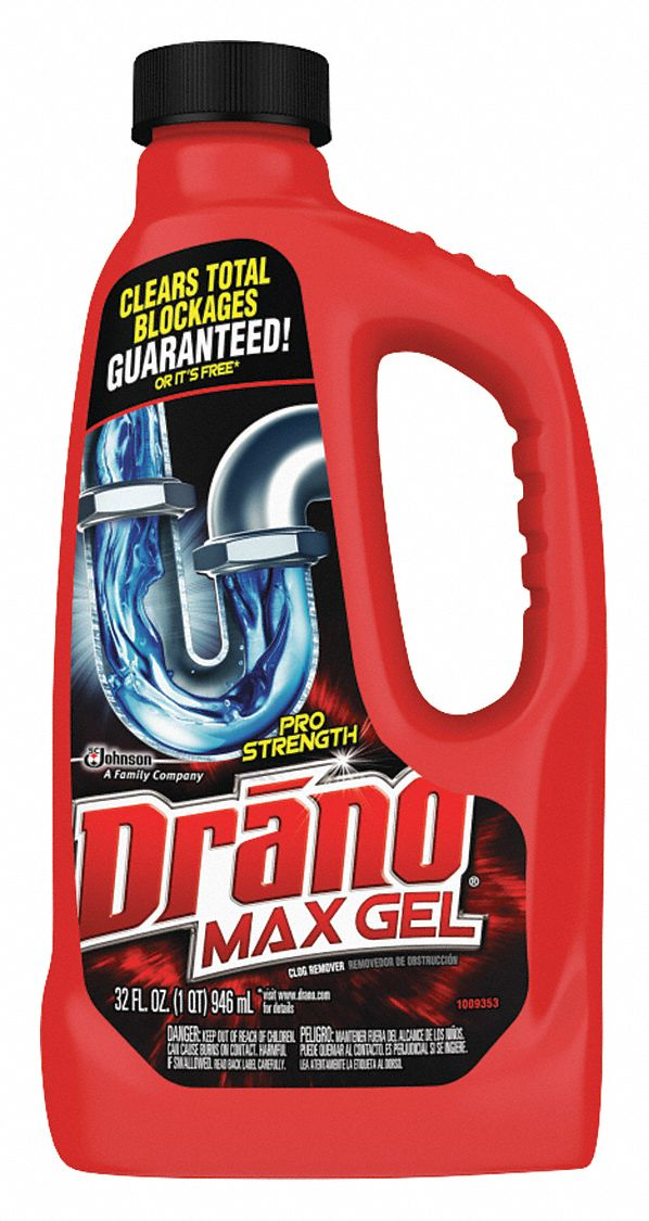 Drain Opener, 32 oz Jug, Unscented Gel, Ready To Use, 12 PK