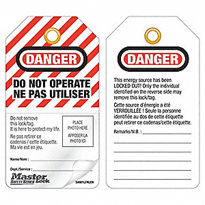 Self-Laminating Photo ID Danger Bilingual Tag, Polypropylene, Do Not Operate/Ne Pas Utiliser
