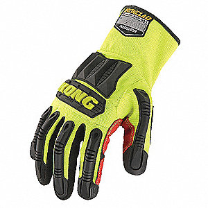 General Utility High Visibility Rigger Gloves, Synthetic Leather/PVC Palm Material, High Visibility
