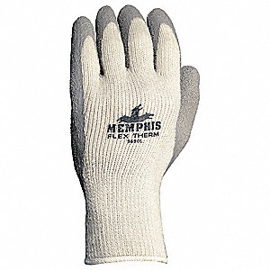 Cold Protection Gloves, Cotton/Polyester/Acrylic Lining, Knit Wrist Cuff, Gray, M, PR 1