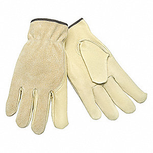 Pigskin Leather Work Gloves, Slip-On Cuff, Beige, Size: S, Left and Right Hand