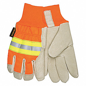 Pigskin Leather Work Gloves, Knit Wrist Cuff, Beige Palm, HiVis Orange and Yellow Back, Size: XL, Le