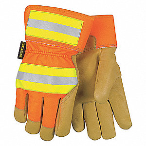 Pigskin Leather Work Gloves, Safety Cuff, Gold, HiVis Orange and Yellow, Glove Size: XL