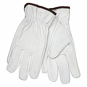 Goatskin Leather Palm Gloves with Slip-On Cuff, White, M