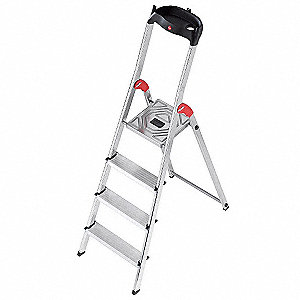 "Aluminum Platform Stepladder, 4 ft. 7"" Ladder Height, 2 ft. 9"" Platform Height, 330 lb."