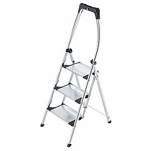 "Aluminum Folding Step, 56"" Overall Height, 330 lb. Load Capacity, Number of Steps: 3"