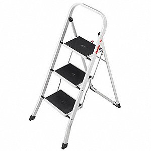 "Steel Household Step Stool, 42"" Overall Height, 330 lb. Load Capacity, Number of Steps 3"