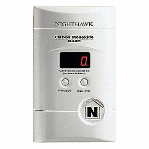 Carbon Monoxide Alarm with 85dB @ 10 ft. Audible Alert; 120V