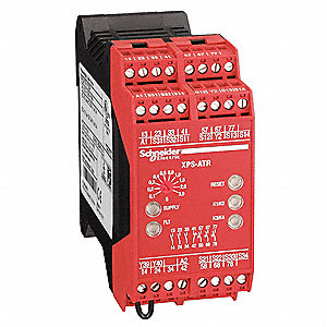 Safety Monitoring Relay, 3NO Instantaneous/3NO Timed, Contact Load Rating: 1.5A