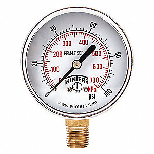 "2-1/2"" Lead Free Vacuum Gauge, 30 to 0 In. Hg"