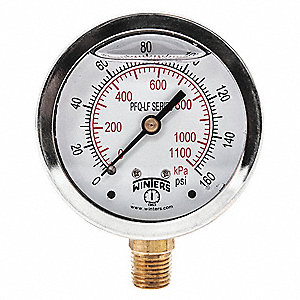 "2-1/2"" Lead Free Pressure Gauge, 0 to 160 psi"