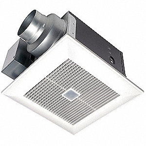 "10-1/4"" x 10-1/4"" x 7-2/5"" Bathroom Fan, 80 CFM, 0.02 Amps"