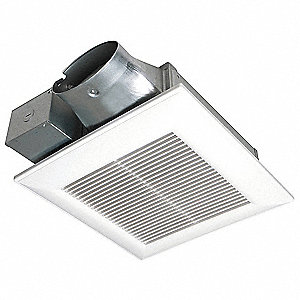 "10-1/4"" x 10-1/4"" x 3-3/8"" Low Profile Bathroom Fan, 50 CFM, 0.13 Amps"