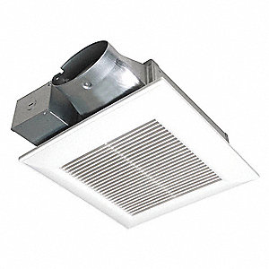 "10-1/4"" x 10-1/4"" x 3-3/8"" Low Profile Bathroom Fan, 100 CFM, 0.25 Amps"
