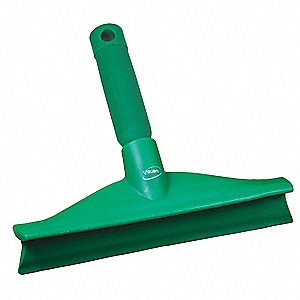 "10""W Straight Rubber Floor Squeegee With Handle, Green"