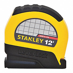 12 ft. Steel SAE Tape Measure, Black/Yellow