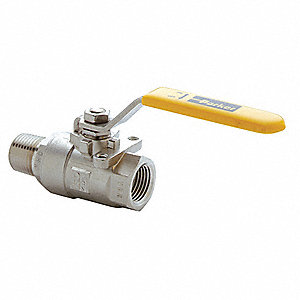 "316 Stainless Steel FNPT x MNPT Ball Valve, Lever, 3/8"" Pipe Size"