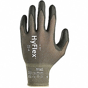 13 Gauge Smooth Polyurethane Coated Gloves, Glove Size: 10, Silver
