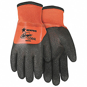 7, 15 Gauge Rough PVC Coated Gloves, Glove Size: M, Black/Orange