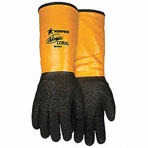 PVC Cut Resistant Gloves, ANSI/ISEA Cut Level A4, HPPE Lining, Black, Yellow, L, PR 1