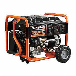 Portable Generator, 120/240VAC Voltage, 6500 Rated Watts, 8125 Surge Watts, 54.2/27.1 Amps @ 120/240