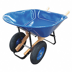 Wheelbarrow, 8 cu. ft. Capacity, Tray Material: Steel, Number of Wheels: 2