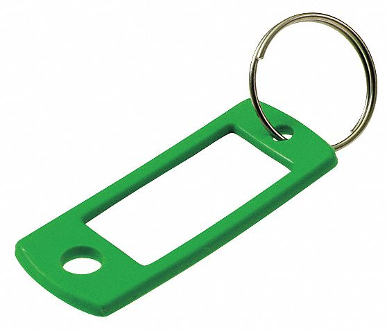 "2 in"" x 7/8 in"" Split Ring Key Tag, Black, Blue, Green, Purple, Red, Yellow; PK50"